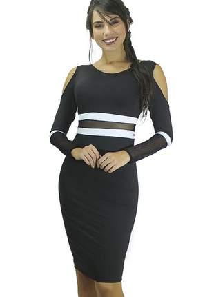 Vestido feminino midi tubinho com manga longa e detalhes em tule