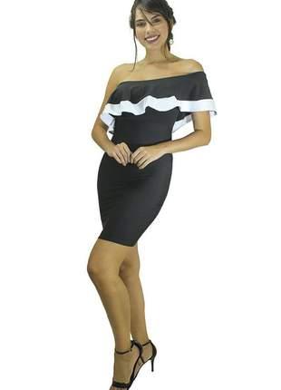 Vestido feminino curto tubinho um ombro só e babado