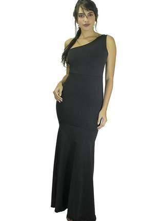 Vestido feminino longo uma alça e detalhe nas costas