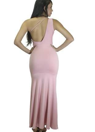 Vestido feminino longo rabo de sereia um ombro com detalhe na costa nua
