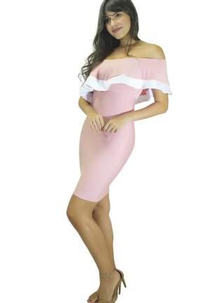 Vestido feminino tubinho um ombro só com detalhe em branco no babado