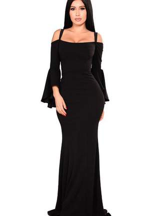 Vestido feminino elegante longo alcinha manga flare social festa