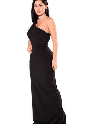 Vestido feminino longo elegante uma alça ombro nu social festa
