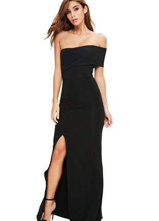 Vestido feminino elegante longo ombro a ombro fenda social festa