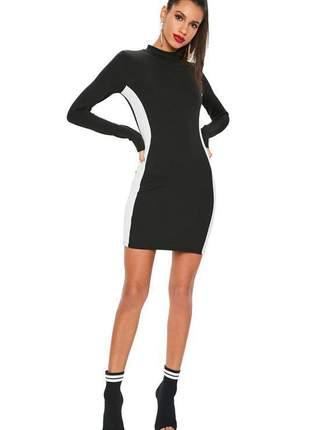 Vestido feminino curto charme manga longo duas cores gola alta social festa
