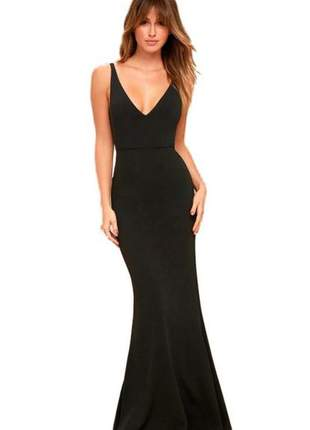 Vestido feminino longo elegante com decote em v. festa
