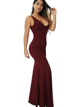 Vestido feminino longo elegante com decote em v. festa marsala