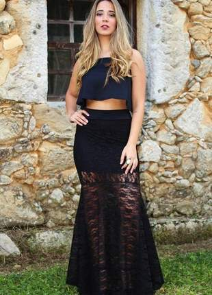 Conjunto feminino de cropped e saia longa rabo de sereia com renda ano novo reveillon