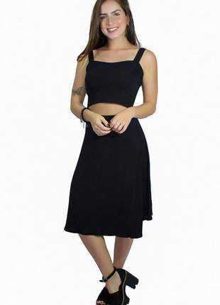 Conjunto feminino saia midi mullet com cropped alcinha