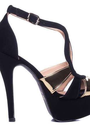 Sandália meia pata  nobuck preto;