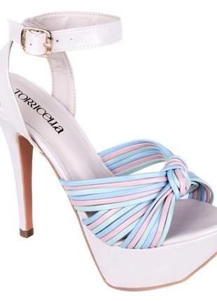 Sandália meia pata off white e tiras coloridas