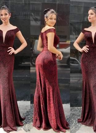 Vestido marsala luxo noite de festa blogueira brilho bojo ombro