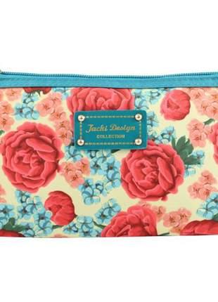 Necessaire feminina com estampa floral azul