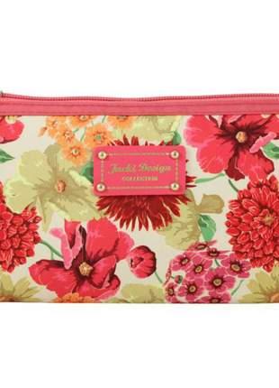 Necessaire feminina com estampa floral rosa