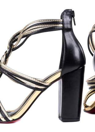 Sandália feminina  preto e metalizado ouro