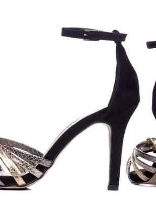 Sandália feminina  camurça preto