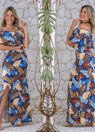 Vestido longo floral babado fenda