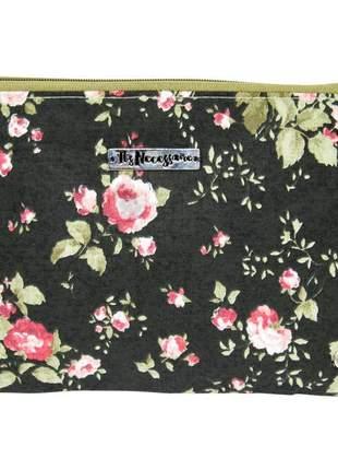 Necessaire de tecido estampa floral vintage preto