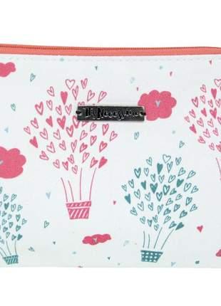 Necessaire de tecido estampada de balão rosa e verde claro