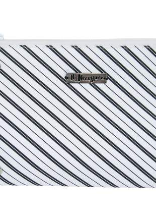 Necessaire de tecido estampa de listras preto e branco