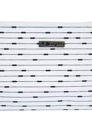 Necessaire de tecido estampa de pontinhos preto e branco