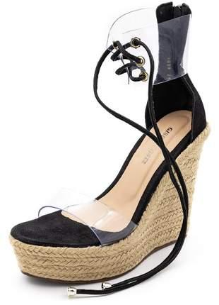 Sandália feminina anabela salto alto.  napa preta com transparência.
