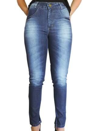 Calça jeans cintura alta delave
