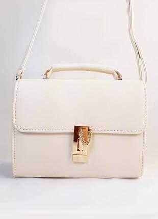 Bolsa bag sara branca - couro ecológico