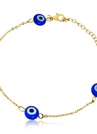 Pulseira olho grego azul folheado ouro 18 k