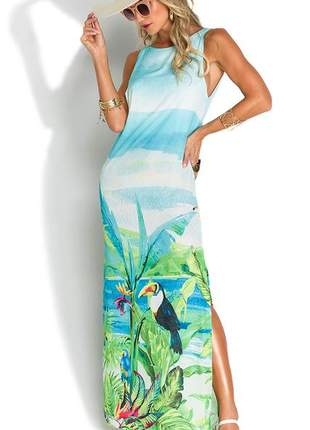 Vestido de chelles longo decote costas jungle beach