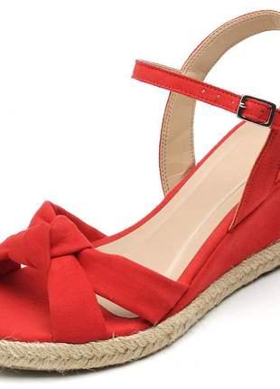 Sandália anabela nó vermelho salto baixo corda