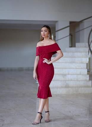 Vestido vermelho escuro midi festa