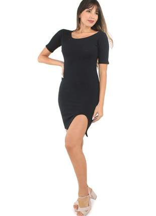 Vestido feminino curto tubinho canelado com fenda