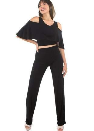 Conjunto feminino cropped com babado e calça lisa