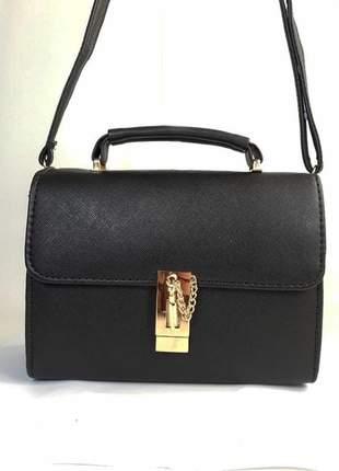 Bolsa bag sara preta, couro ecológico