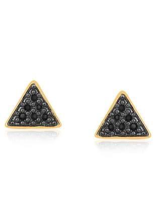 Brinco triangulo pequeno folheado ouro 18 k