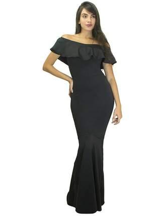 Vestido feminino longo ombro a ombro rabo de sereia babado