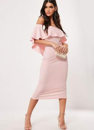 Vestido feminino midi com babado e fenda