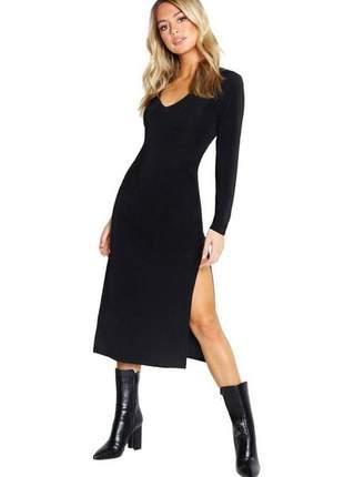Vestido feminino midi manga longa com fenda lateral