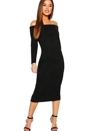 Vestido feminino midi canelado ombro a ombro e manga longa