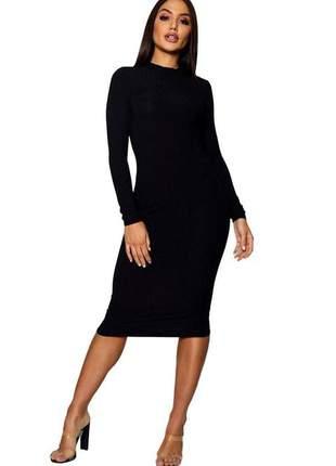 Vestido feminino midi canelado manga longa