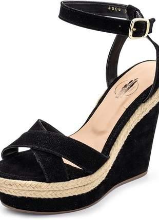 Sandália anabela salto alto em nobucado preto com sisal