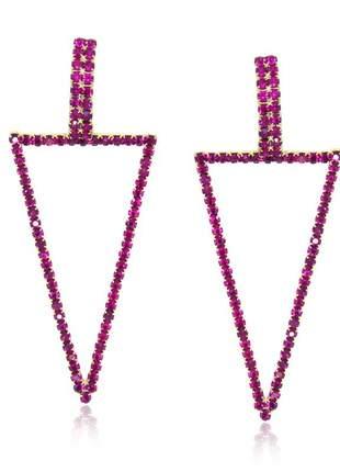 Brinco triangulo rosa folheado ouro 18 k