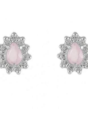 Brinco gota cravejada rosa quartzo folheado em ródio