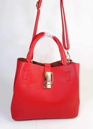 Bolsa bag cintia vermelha, em couro ecológico