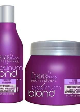 Kit platinum blond manutenção desamarelador forever liss - shampoo + mask