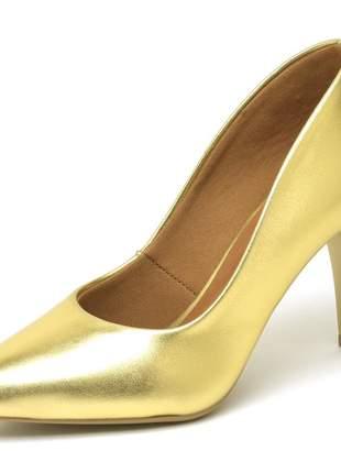 Sapato scapins salto medio  bico fino napa dourado 7 cm