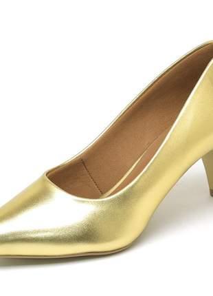 Sapato feminino scarpin salto baixo bico fino napa dourado 5 cm