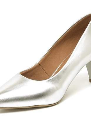 Sapato feminino scarpin salto baixo bico fino prateado 5 cm