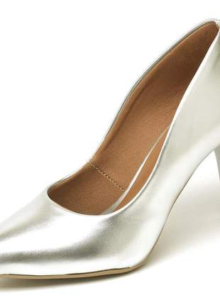 Sapato feminino scarpin salto medio bico fino prateado 7 cm